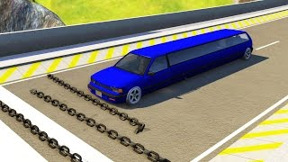 Giant Chain Crashes High Speed Car Jump #3 - BeamNG.drive