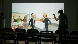 Pixels tech rehearsal - live real-time animation using two HTC Vive virtual reality headsets