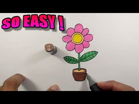 How to draw a pink flower very easy to follow   Simple Drawing