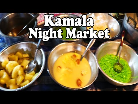 Kamala Night Market. Thai Street Food & Shopping at a Night Market in Kamala Beach Phuket Thailand