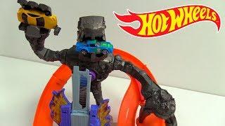 HOT WHEELS PISTA MEGA ROBOT DESTRUCTOR NITROBOT ATTACK UNBOXING & REVIEW