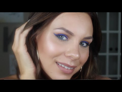 Cobalt Blue Winged Eyeliner   Bold Eye Tutorial