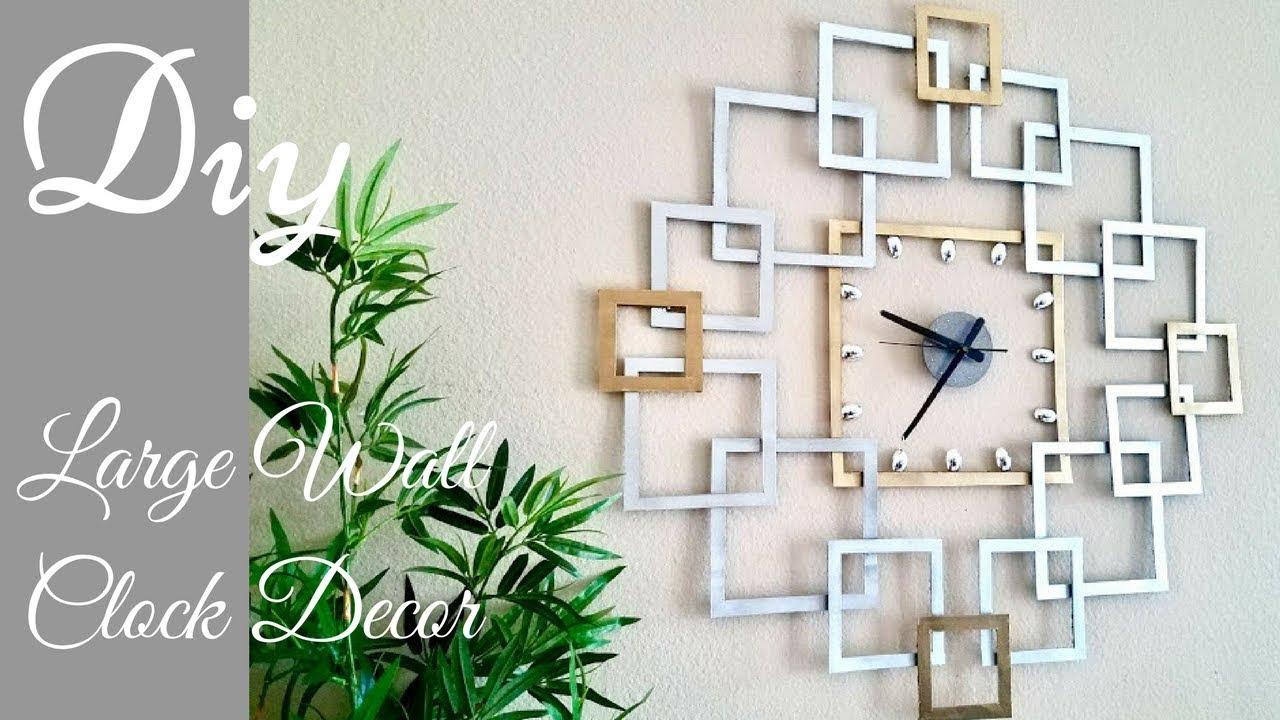Diy Large Wall Clock Decor Wall Decorating Idea Youtube