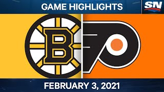 NHL Game Highlights | Bruins vs. Flyers - Feb. 3, 2021