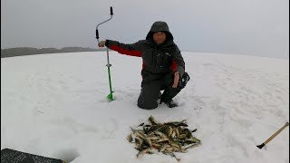 Попал на Активный клёв Окуня Окунь берет один за другим Отличная рыбалка Рыбалка на мормышку