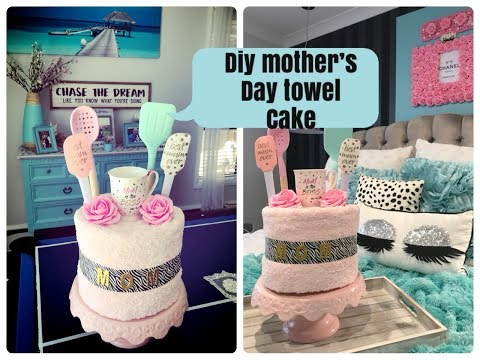DIY MOTHERS DAY TOWEL CAKE
