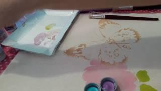 Pintura com stencil ( Rosas com borboleta) parte 1