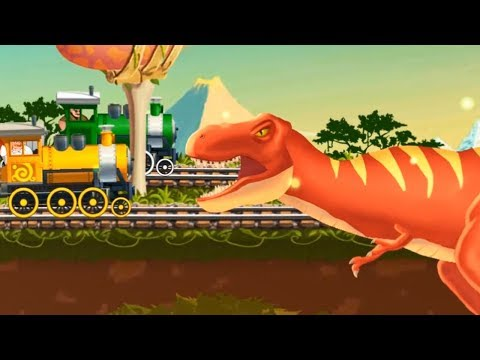 Kids Play the train game to transport customers through the dinosaur forest game for kids