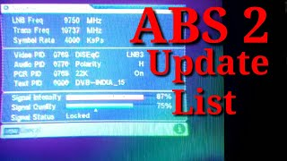 ABS 2 New Tp Update Channel List  Set on MPEG 2 Box Update 28/12/18 #abs2, #newabs2