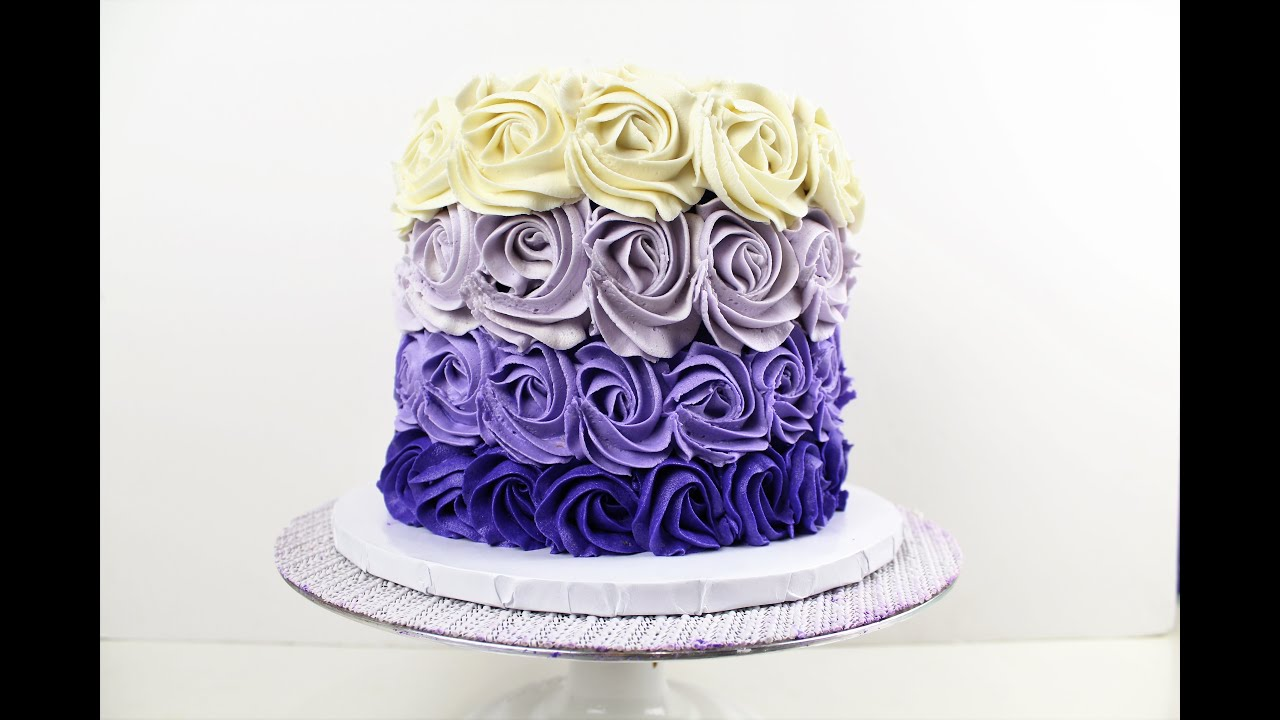 Purple Buttercream Rose Cake