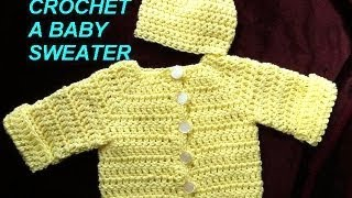 Repeat youtube video How to crochet a BABY CARDIGAN SWEATER JACKET, Part 1