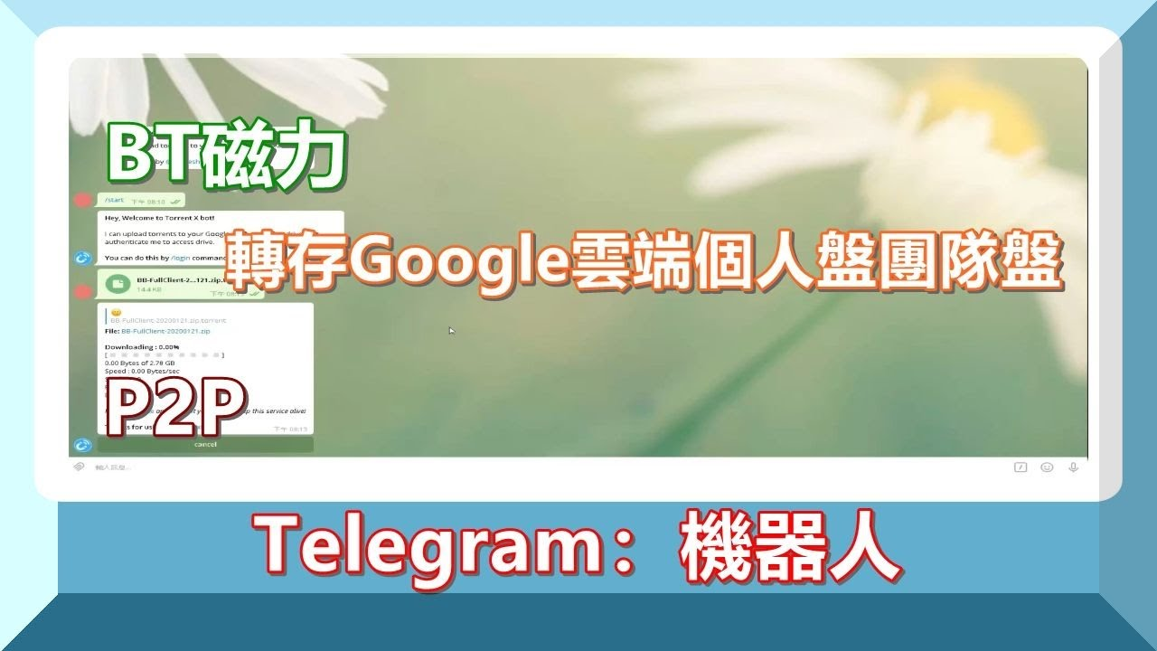 Telegram:機器人│@Telegram BT磁力P2P轉存 @Google 雲端個人盤團隊盤 #tg #google #gd #googledrive