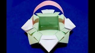 Оригами корзинка для конфет из бумаги . Украшение стола.