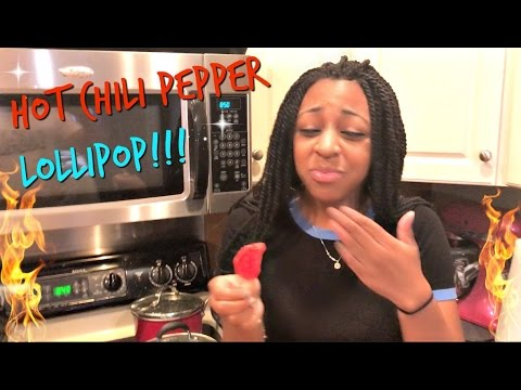 Girlfriend Eats Hot Chili Pepper Lollipop!!!! REALLY HOT!!!