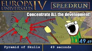 [WR] EU4 Achievement Speedrun (RTA NS5) - Pyramid of Skulls, in 49 seconds, as Uzbek