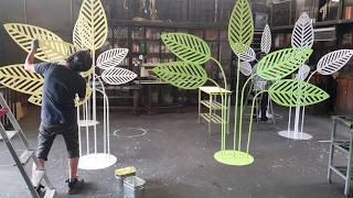 거리공연조형물 나뭇잎만들기/포멕스커팅 철구조물용접 페인…