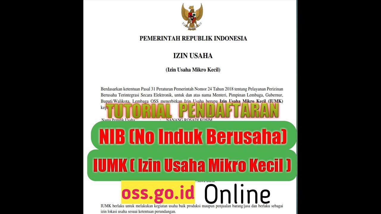Tutorial Pendaftaran Nib Atau Iumk Online Di Oss Go Id Banpres Ukm Youtube