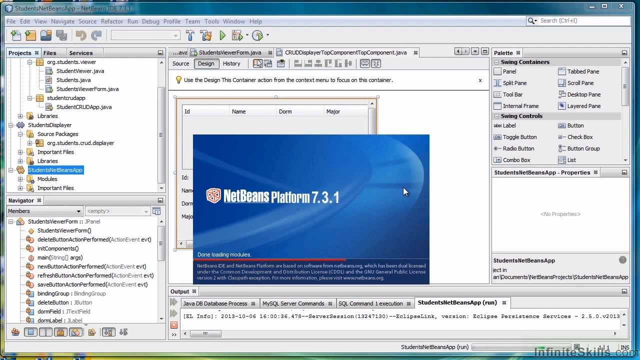 Java tutorial creating a database and table in netbeans jdbc.
