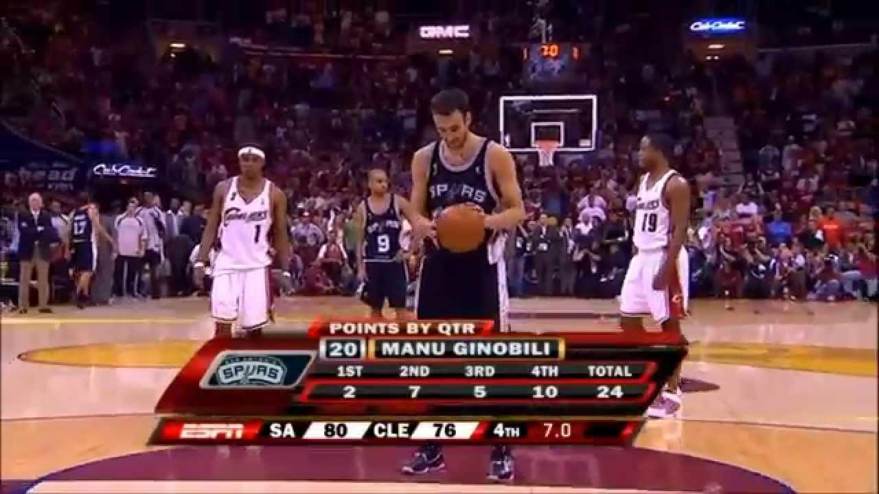 Manu Ginobili 27 pts vs Cleveland Cavaliers - G4 2007 NBA Finals - YouTube