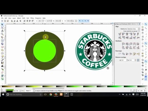 starbucks rings in Inkscape - with & without center, change stars to hearts