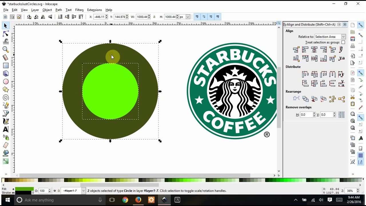 Starbucks Rings In Inkscape With Without Center Change Stars To Hearts Youtube