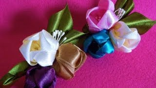 D.I.Y. Kanzashi inspired Satin Tulip Flower Hair Clips