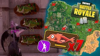 dance with a trophy fish in places with different names - Fortnite: Battle Royale