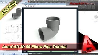 AutoCAD Classes 3D Modeling 90 Elbow Pipe Tutorial Practice Exercise 44