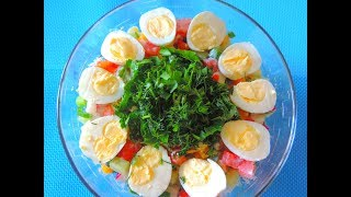 Как вкусно приготовить ОВОЩНОЙ салат с ПЕРЕПЕЛИНЫМИ яйцами и КУКУРУЗОЙ