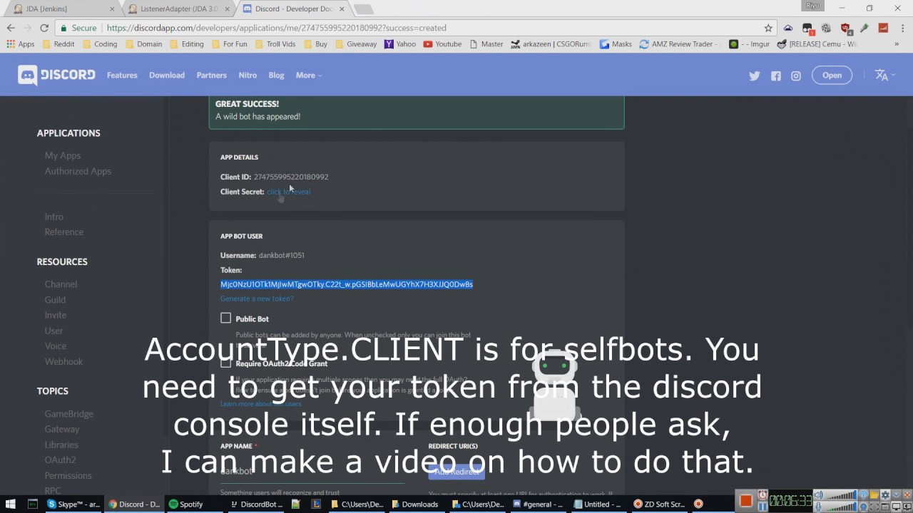 how to make yourself a bot on discord