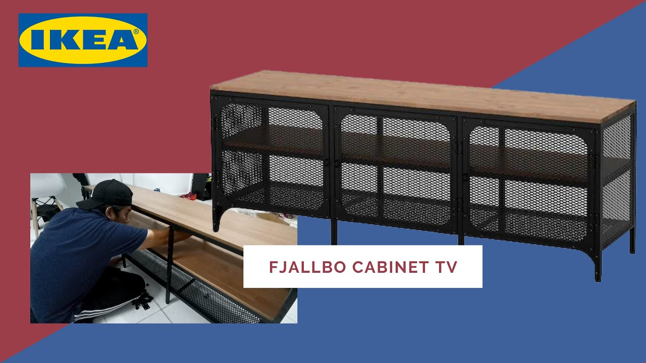 ikea fjallbo cabinet tv bench unboxing and installation assembly