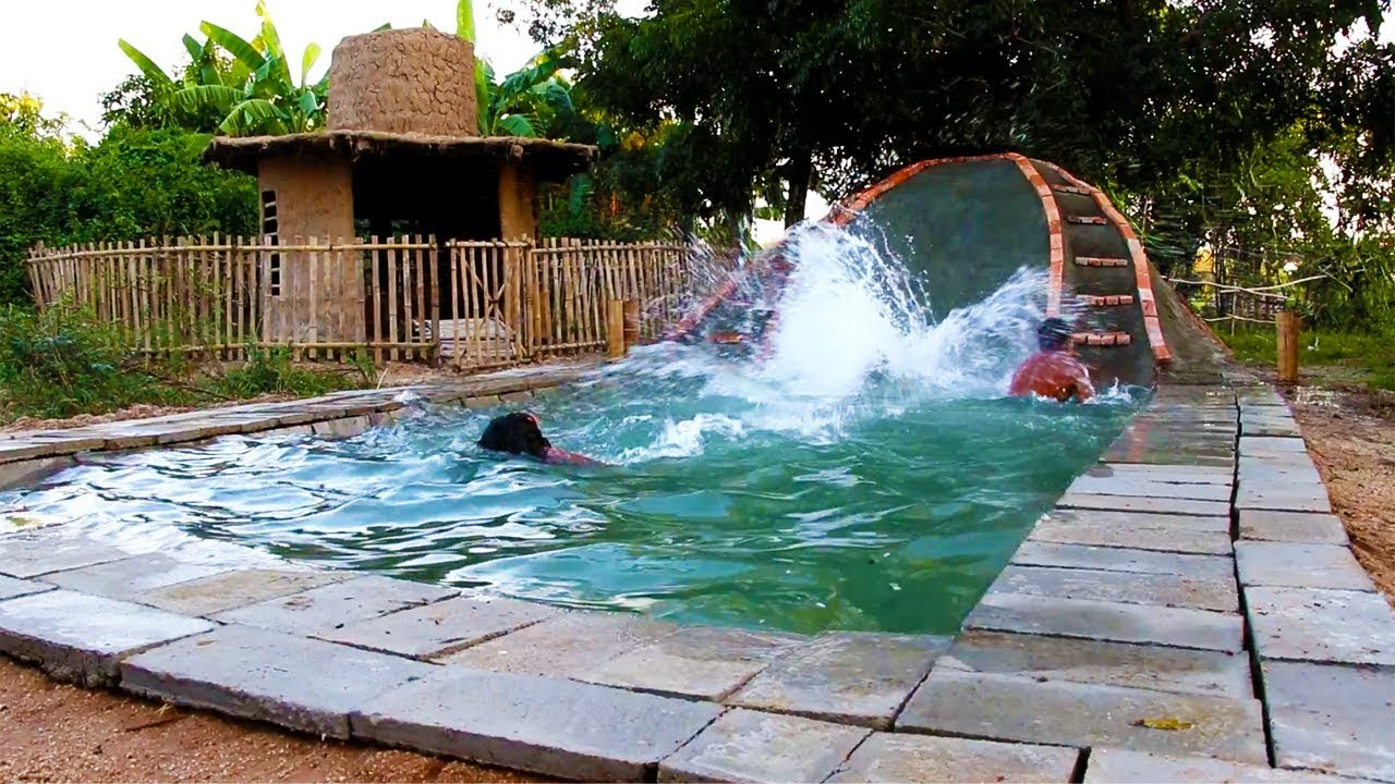 Build underground swimming pool and water slide full - How to build a swimming pool slide ...