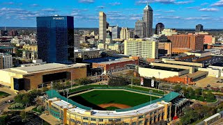 Indianapolis, Indiana overlooking Victory field. Above White River.
