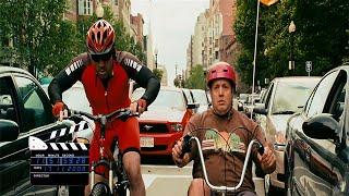 Смешной момент из фильма  Мой парень из зоопарка, гонка на велосипедах