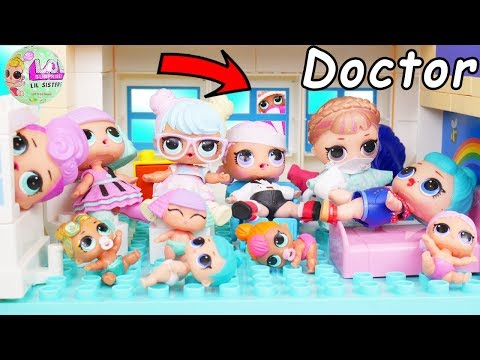 BIG LOL Surprise Dolls Peppa Pig Hospital Ambulance for Lil Sisters Chicken pox   Toy Mystery Video