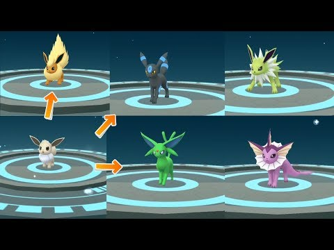 How to get all gen 1 & 2 Shiny Eevee Evolution! Eeveelution in Pokemon Go