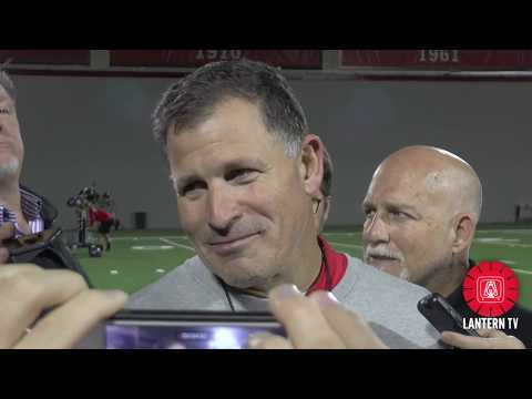 Ohio State DC Greg Schiano speaks after practice on 10/24.