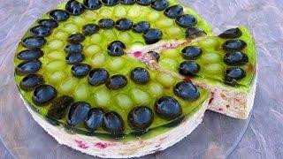 Творожный торт с желе и виноградом (без выпечки) / Пошаговый рецепт