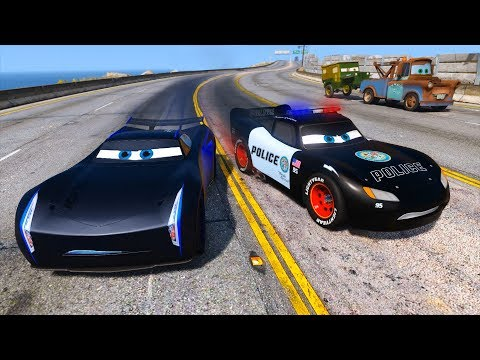 Police Car Lightning McQueen vs Jackson Storm - Hot pursuit - Police Chase - Disney Cars and Friends