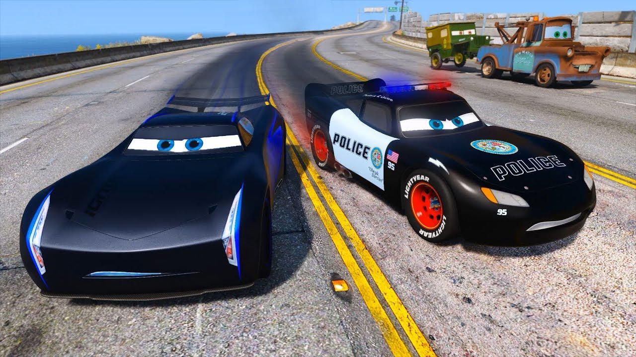 Police Car Lightning McQueen Vs Jackson Storm Hot Pursuit - Sports cars vs police