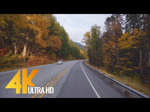 [4K 60fps] Scenic Drive With Music - US 2 Road, Stevens Pass Highway 2