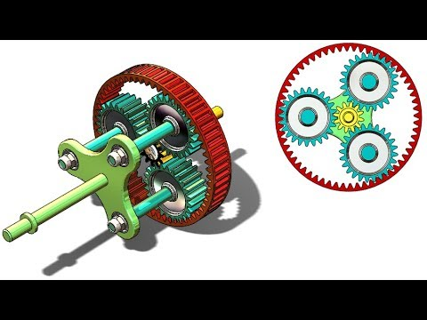SolidWorks G Tutorial # 301: Planetary gears (parts & design, invoulate eq, fidget carrier )