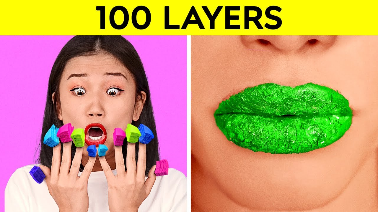100 LAYERS CHALLENGE! 100 Layers of Makeup, Nails, Lipstick! 100 Coats of Things by 123 GO!CHALLENGE
