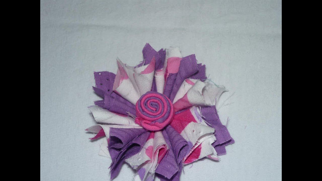 Como hacer flor deshilachada con retazos de tela how to make cloth flower manualidades la - Como hacer manualidades con tela ...