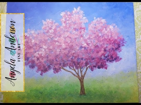 Impressionist Cherry Blossom Tree | Live Acrylic Painting Lesson | #ColoroftheYearArt | #CAC