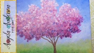 Easy Impressionist Cherry Blossom Tree | Live Full Acrylic Painting Lesson | #ColoroftheYearArt