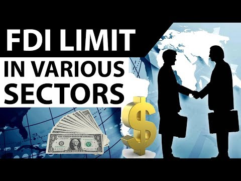 (हिंदी) FDI Limits in various sectors of India 2017- Current affairs 2017 for IBPS PO / RBI Grade B