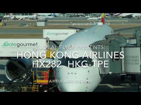 [4K] HX282- Hong Kong Airlines HX282 HKG-TPE A350 Economy Class with VoiceOver