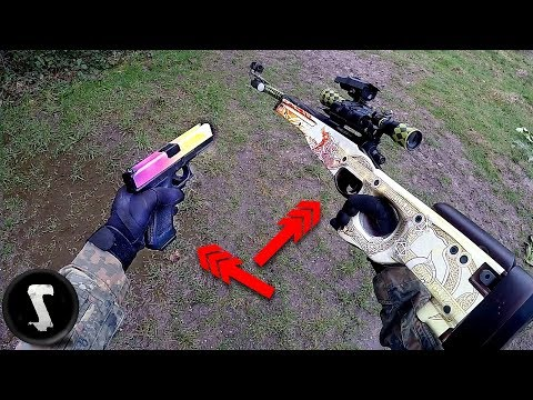 Guy Using $1250 REAL CS:GO AWP Dragon Lore and Glock Fade in Airsoft War