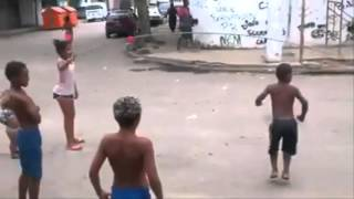 Dog Playing Jump Rope With Kids In A Brazilian Favela